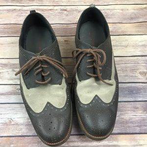 Cole Haan Taupe Gray Leather Suede Oxford Shoes